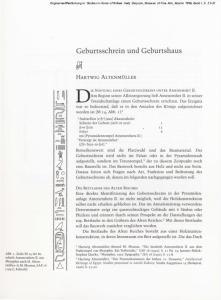 DIE STIFTUNG EINES GEBURTSSCHREINS UNTER AMENEMHET II