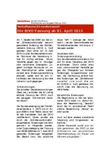Die StVO-Fassung ab 01. April 2013