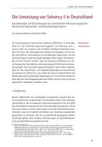 Die Umsetzung von Solvency II in Deutschland