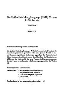 Die Unified Modelling Language (UML) Version 2 - Stichworte