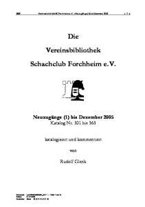 Die Vereinsbibliothek Schachclub Forchheim e.v