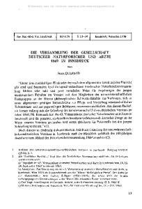 DIE VERSAMMLUNG DER GESELLSCHAFT DEUTSCHER NATURFORSCHER UND ÄRZTE 1869 IN INNSBRUCK