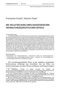 DIE VOLLSTRECKUNG EINES KASSATORISCHEN VERWALTUNGSGERICHTLICHEN URTEILS 1