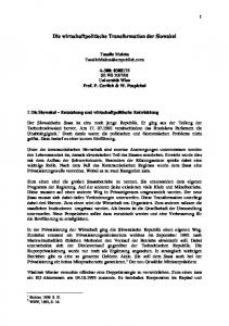Die wirtschaftpolitische Transformation der Slowakei
