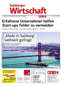 Die Zeitung der Wirtschaftskammer Salzburg 69. Jahrgang Nr Erfahrene Unternehmer helfen Start-ups Fehler zu vermeiden