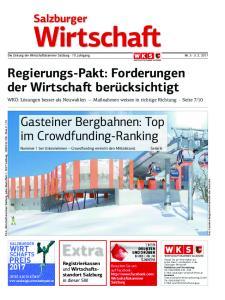 Die Zeitung der Wirtschaftskammer Salzburg 70. Jahrgang Nr Regierungs-Pakt: Forderungen der Wirtschaft berücksichtigt