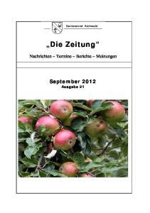 Die Zeitung. Nachrichten Termine Berichte Meinungen. September 2012 Ausgabe 21