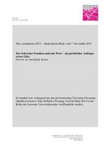 Dies academicus 2013 akademische Rede vom 7. November 2013