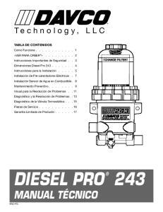 Diesel PRO 243 Manual Técnico. Technology, LLC TABLA DE CONTENIDOS
