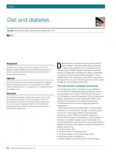 Diet and diabetes. The role of diet in diabetes prevention. Background. Objective. Discussion FOCUS