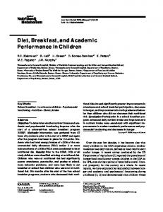 Diet, Breakfast, and Academic Performance in Children