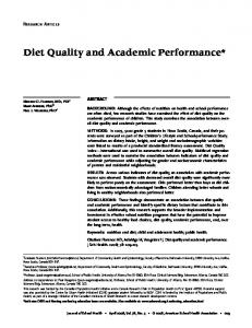Diet Quality and Academic Performance*