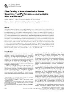 Diet Quality Is Associated with Better Cognitive Test Performance among Aging Men and Women 1,2
