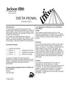 DIETA RENAL (RENAL DIET)