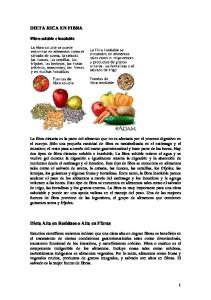 DIETA RICA EN FIBRA. Dieta Alta en Residuos o Alta en Fibras. Fibra soluble e insoluble