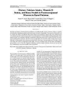 Dietary Calcium Intake, Vitamin D Status, and Bone Health in Postmenopausal Women in Rural Pakistan