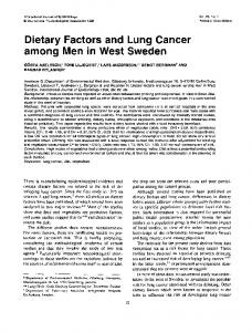 Dietary Factors and Lung Cancer among Men in West Sweden