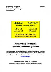 Dietary Fats for Health