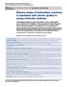 Dietary intake of antioxidant nutrients is associated with semen quality in young university students