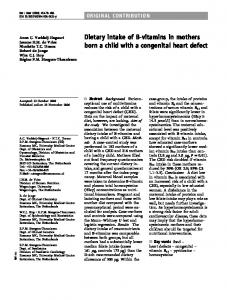 Dietary intake of B-vitamins in mothers born a child with a congenital heart defect