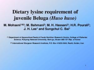 Dietary lysine requirement of juvenile Beluga (Huso huso)