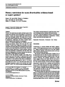 Dietary restrictions for acute diverticulitis: evidence-based or expert opinion?