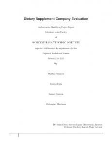 Dietary Supplement Company Evaluation