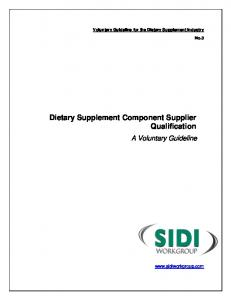 Dietary Supplement Component Supplier Qualification