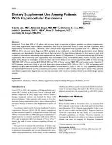 Dietary Supplement Use Among Patients With Hepatocellular Carcinoma