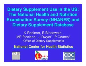 Dietary Supplement Use in the US: The National Health and Nutrition Examination Survey (NHANES) and Dietary Supplement Database