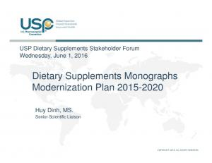 Dietary Supplements Monographs Modernization Plan