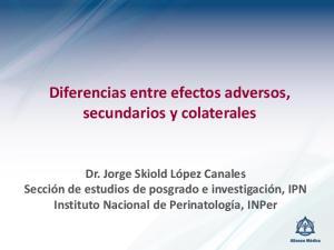 Diferencias entre efectos adversos, secundarios y colaterales