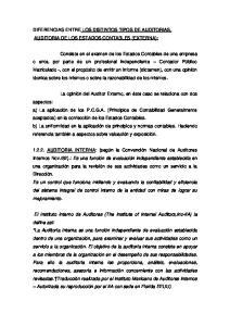 DIFERENCIAS ENTRE LOS DISTINTOS TIPOS DE AUDITORIAS. AUDITORIA DE LOS ESTADOS CONTABLES (EXTERNA):