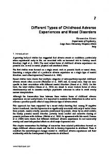 Different Types of Childhood Adverse Experiences and Mood Disorders