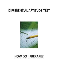DIFFERENTIAL APTITUDE TEST HOW DO I PREPARE?
