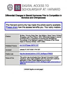 Differential Changes in Steroid Hormones Prior to Competition in Bonobos and Chimpanzees