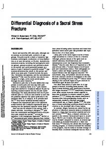 Differential Diagnosis of a Sacral Stress Fracture