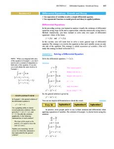 Differential Equations: Growth and Decay. Differential Equations