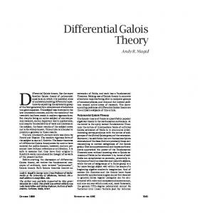 Differential Galois theory, like the more