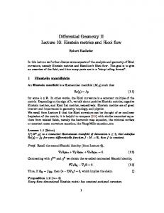 Differential Geometry II Lecture 10: Einstein metrics and Ricci flow