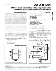 Differential Microphone Preamplifier with Internal Bias and Complete Shutdown
