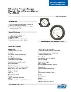 Differential Pressure Gauges Magnetic-Piston Sensing Element Type