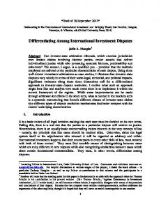 Differentiating Among International Investment Disputes