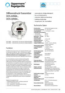 Differenzdruck-Transmitter DDS-AR DDS-QR984