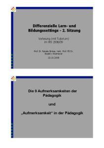Differenzielle Lern- und Bildungssettings - 2. Sitzung