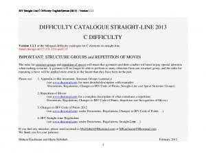 DIFFICULTY CATALOGUE STRAIGHT-LINE 2013 C DIFFICULTY