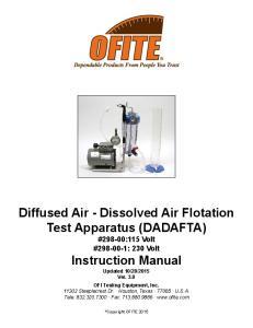Diffused Air - Dissolved Air Flotation Test Apparatus (DADAFTA) #298-00:115 Volt # : 230 Volt Instruction Manual