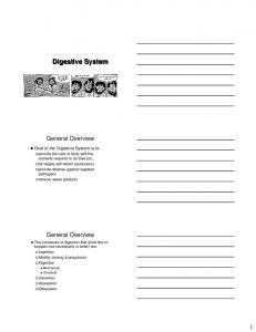 Digestive System. General Overview. General Overview. Goal of the Digestive System is to:
