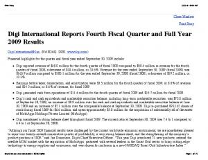 Digi International Reports Fourth Fiscal Quarter and Full Year 2009 Results