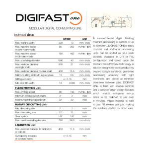 DIGIFAST MODULAR DIGITAL CONVERTING LINE. technical data